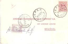 """CP. TP. N° 851 De IEPER Du 11/5/1957 TTx. 59 Annulé Par Griffe Manuscrite """"TAXE REDUITE"""" 2 Frs - Portomarken"""
