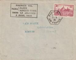 France Poste Aérienne , Premier Vol Alger Ajjaccio Tunis Dans La Journée 2 Avril 1935 - 1927-1959 Covers & Documents