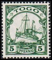 1909 - 1919. TOGO 5 Pf. Kaiserjacht SMS Hohenzollern. (Michel 21) - JF307716 - Colonia: Togo