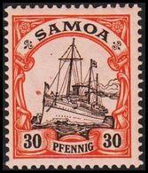 1900 - 1901. SAMOA 30 Pf. Kaiserjacht SMS Hohenzollern. (Michel 12) - JF307731 - Kolonie: Samoa