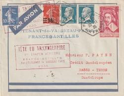 France Poste Aérienne ,Tricentenaire 1 Liaison France Antilles 30 11 1935 (pasteur) - Airmail