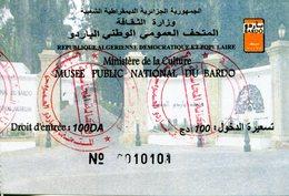 Musée Du Bardo -  (Alger -Algérie) - Visuel 2018 - Demi-tarif (100 DA) - Tickets D'entrée
