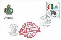 FDC SAN MARINO AMITIÉ ITALIE SAN MARIN - PUERCO ESPIN - DRAPEAUX 2014 - Roedores