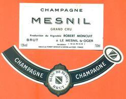 étiquette + Collerette De Champagne Brut Mesnil Robert Moncuit à Le Mesnil Sur Oger - 75 Cl - Champagne