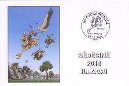 BEDECINE 2018 ILLZACH & J. LERECULEY : Carte + Cachet Alsacienne Et Cigogne Festival Bande Dessinée Wollodrin - Comics