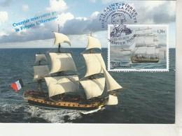 St Pierre Et Miquelon Carte Maximum FDC 22/7/2015 Frégate Hermione La Fayette - Bateaux Voiliers - Cartes-maximum