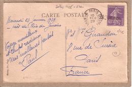 BRESIL FRANCE - CARTE DE RIO DE JANEIRO POUR PARIS , GRIFFE PAQUEBOT SUR 40 C + AMBULANT IRUN A PARIS SPECIAL - 1929 - Postmark Collection (Covers)