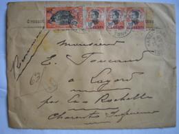 CANTON -Lettre Recommandée De Hanoï Du 23/9/27 Pour Lagord Le 31/10/27 -Bel Affranchissement Avec TP Canton Et Indochine - Canton (1901-1922)