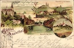 Lithographie Saaleck Bad Kösen, Schloss Heidecksburg Rudolstadt, Paradies Jena, Leuchtenburg, Rudelsburg - Deutschland
