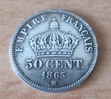 France - Monnaie 50 Cts Napoléon III Lauré 1865 BB En Argent - TTB - France