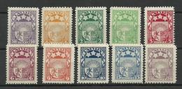 LETTLAND Latvia 1921/22 Michel 77 - 86 MNH - Lettonie
