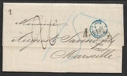 1869 LAC ODESSA ( Ukraine ) Vers MARSEILLE Par AUTRICHE Et STRASBOURG. TB - Marcophilie (Lettres)