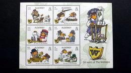 """Alderney 598/603 Block 44 **/mnh, 50 Jahre Kinderbuchreihe """"Die Wombles - Alderney"""