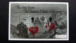 "Alderney 604/5 Block 45 **/mnh, ""The View From The Lover's Chair""; Zeichnung Von Paul Jacob Naftel , STAMPEX London - Alderney"