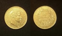 COPIE - 1 Pièce Plaquée OR Sous Capsule ! ( GOLD Plated Coin ) - 10 Francs Napoléon Tête Laurée 1866 BB - Francia