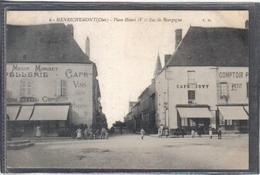 Carte Postale 18. Henrichemont  Chapellerie Et Café Jovy  Place Henri IV Rue De Bourgogne   Très Beau Plan - Henrichemont