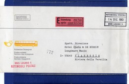 ##(DAN1811)-1983 - Express Swiss Post  Travelers Service Cover From Lugano To Italy, Automobili Postali Cancel - Suisse