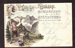 GRUSS AUS BERGEN Très Belle Carte Litho De Carl KUNZLI Avec Timbre Suisse Et Cachet De 1900 De VITZNAU - Pöchlarn
