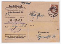 Dt.- Reich (006445) Propaganda, Einberufung, Reichsluftschutzbund Landesgruppe Württemb.- Baden, Orts- Gruppe Konstanz - Deutschland