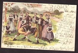 GRUSS AUS BERGEN Très Belle Carte Litho LUTTEURS De Carl KUNZLI Avec Timbre Suisse Et Cachet De 1900 De VITZNAU - Pöchlarn