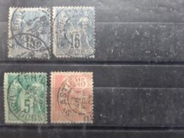 Lot De 4 Timbres SAGE , MOUCHON Obl Cachet BERGERAC, MONPONT S L' Isle, St Astier Perigueux, Dordogne - 1877-1920: Période Semi Moderne