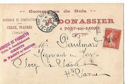 Carte Commerciale 1910 / 70 PORT SUR SAONE / DONNASSIER / Matériaux Plâtres Ciments, Tuiles JEANDELAINCOURT PAGNY 51 - France
