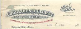 Facture Avec Vignette Foire De Paris 1929 / 75 PARIS / LILLE LYON ROUEN  GAND / Courroies J. LECHAT LAROCHE - Erinnophilie