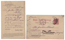 "1890 - ENTERO POSTAL PRE IMPRESO "" VALERIO SUARI "" BARCELONA Pour MILLAU FRANCE / ENTIER Avec REPIQUAGE AMBULANT - Entiers Postaux"