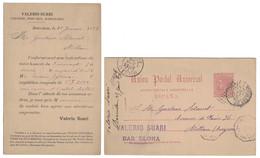 "1889 - ENTERO POSTAL PRE IMPRESO "" VALERIO SUARI "" BARCELONA Pour MILLAU FRANCE / ENTIER Avec REPIQUAGE AMBULANT - Entiers Postaux"