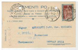 Cartolina Commerciale Trino Vercellese - Cementi Po - 1928 - Con Bel Francobollo - Vercelli