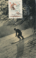 D35670 CARTE MAXIMUM CARD 1957 HUNGARY - SKIING DOWNHILL CP VINTAGE ORIGINAL - Skiing