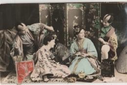 FANTAISIE - Deux Couple En Costumes Japonais - Paravent Thé Ombrelle Kimono - Théâtre No - - Couples