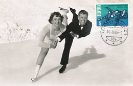 D35671 CARTE MAXIMUM CARD 1965 SWITZERLAND - FIGURE SKATING DAVOS CP ORIGINAL - Winter (Other)