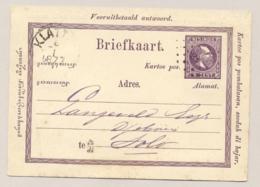 Nederlands Indië - 1877 - 5 Cent Willem III, Briefkaart G2aA Van Rond- En Puntstempel KLATTEN Naar Solo - Nederlands-Indië