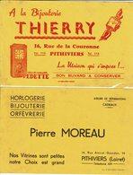 "BUVARD "" Pithiviers"" Bijouterie Moreau Et Thierry..... - Papeterie"