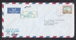 Kuwait: Registered Airmail Cover To Germany, 1981, 1 Stamp, Mosque, R-label Al-Aagool (traces Of Use) - Koeweit