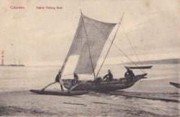 AO51 Ceylon Postcard, Colombo, Native Fishing Boat - Sri Lanka (Ceylon)