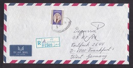 Kuwait: Registered Airmail Cover To Germany, 1978, 1 Stamp, Emir, R-label Hawalli (traces Of Use) - Koeweit