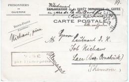 Carte De Franchise Du Détachement De Prisonniers De La Forêt Du Gavre, Détachement De La Gare De La Meillardais - Marcophilie (Lettres)