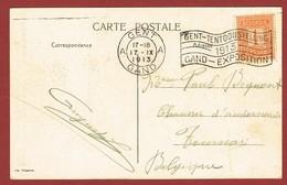 Wereldtentoonstellingsstempel  Gent 1913 Op Passende Kaart 2 Scan - Universal Expositions