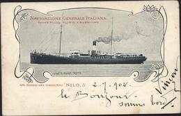 CP Postcard Egypte Navigazione Generale Italiana Societa Riunite Florio Rubattino Bordo Del Piroscafo Nilo CAD Ambulant - Egypt