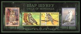 Mongolia 2017 Sheetlet MNH Owls Owl Birds Bird - Búhos, Lechuza