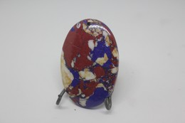 Pendente Pietra Ovale, Con Colorazioni Di Rosso E Blu - Bijoux & Horlogerie