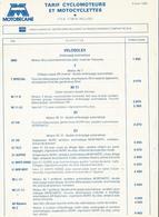 Doc Format A4 Tarifs Motobecane Cyclomoteurs Velosolex  05.04.1982 - France