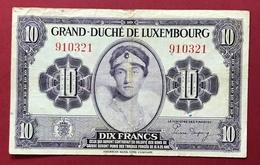 Luxembourg Billet De Banque 10 Francs 1944 - Lussemburgo