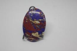 Pendente Pietra Ovale, Con Colorazioni Di Rosso E Blu Turchese - Bijoux & Horlogerie