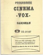 Programme Cinema Vox  Carignan 08 4pages 1983 - Programmes