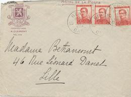 538/27 - Lettre TP Pellens GENT 26 IX 1914 Vers LILLE - Entete Illustrée Hotel De La Poste , Prop. A. Clément - WW I
