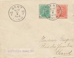 539/27 - Lettre TP Croix Rouge GENT 10A 10 X 1914 En Ville - DERNIER JOUR De La Poste à GAND - WW I