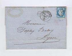 Sur Lettre AC Type Céres 25 C. Bleu Type II Oblitération Losange. CAD Montélimar 1874 Et Cachet OR. (882) - Marcophilie (Lettres)